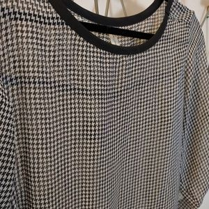 Sheer Houndstooth Blouse